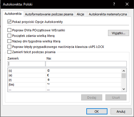 okno autokorekty w Excelu